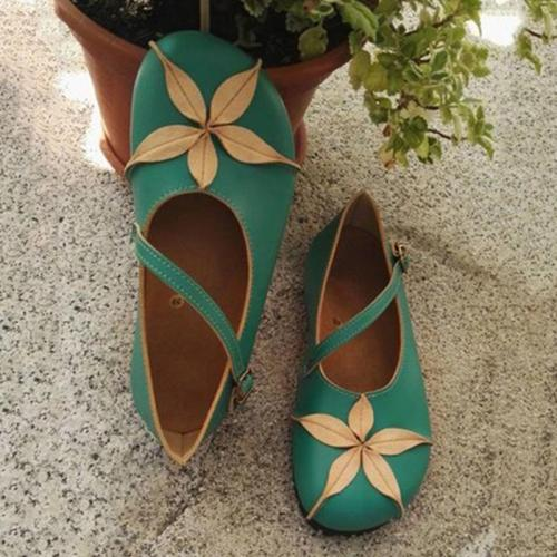 Women's Adorable Floral Head Buckle Flats