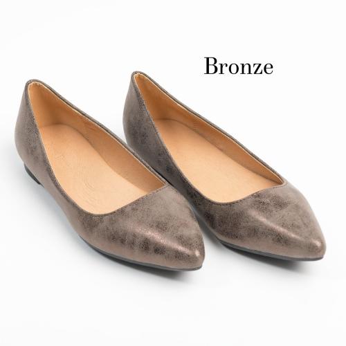 Distressed Bronze Almond Toe Flats