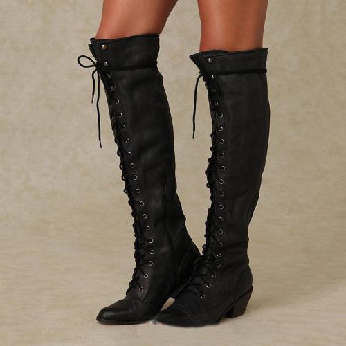 Women Fashion Vintage Lace Up Boots