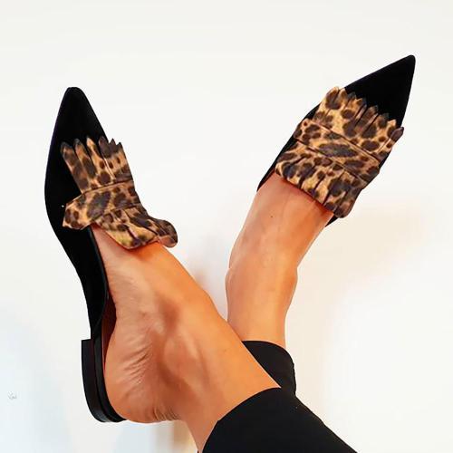 Women Chic Color Block Fringe Flat Slip-On Sandals