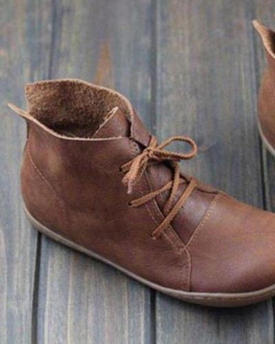 Flat vintage women's boots single shoes