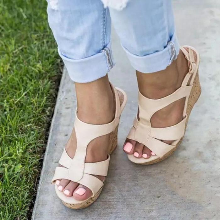 Women's PU Round Toe Adjustable Buckle High Wedge Sandals