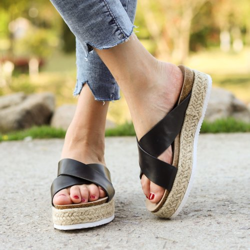 Women's Round Toe Cross-band Middle Platform Heel Slippers