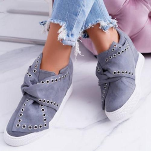 Faux Suede Wedge Heel Casual Sneakers