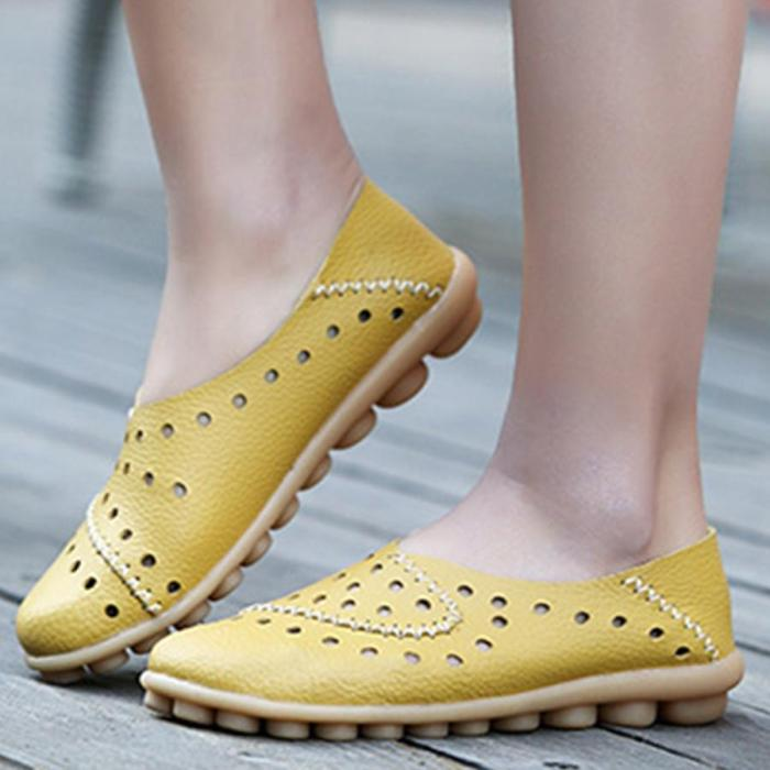 Hollow Out Plain Flat Round Toe Casual Flat Women Loafers