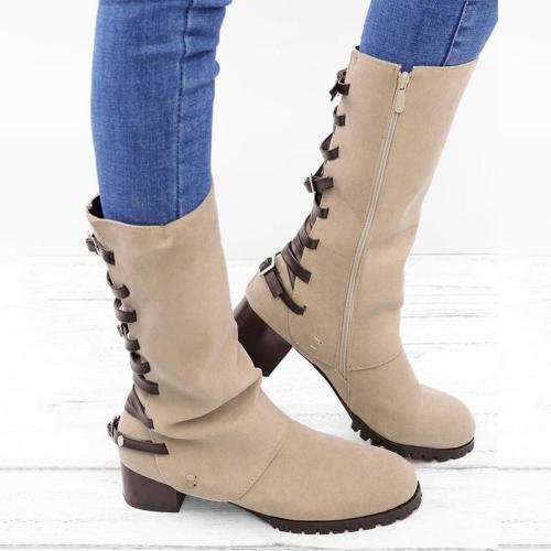 Vintage Zipper Low Heel Mid-calf Boots Women Shoes