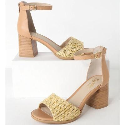 Chunky Heel Weaved Buckle Strap Peep Toe Sandals