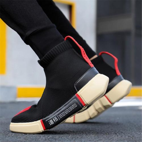 Men's casual flying woven high-top sport sneakers