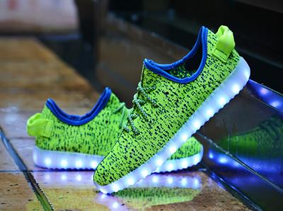 Fluorescent green luminous mesh cloth LED shoes