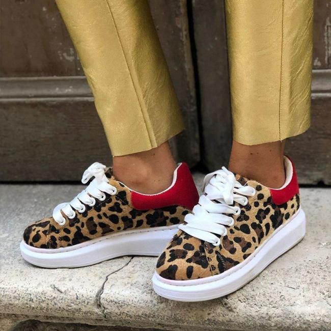 Platform Leopard Lace Up Sneakers
