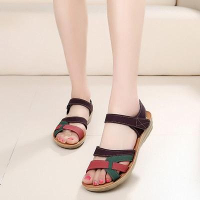 soft leather large size flat sandals summer casual comfortable no-slip