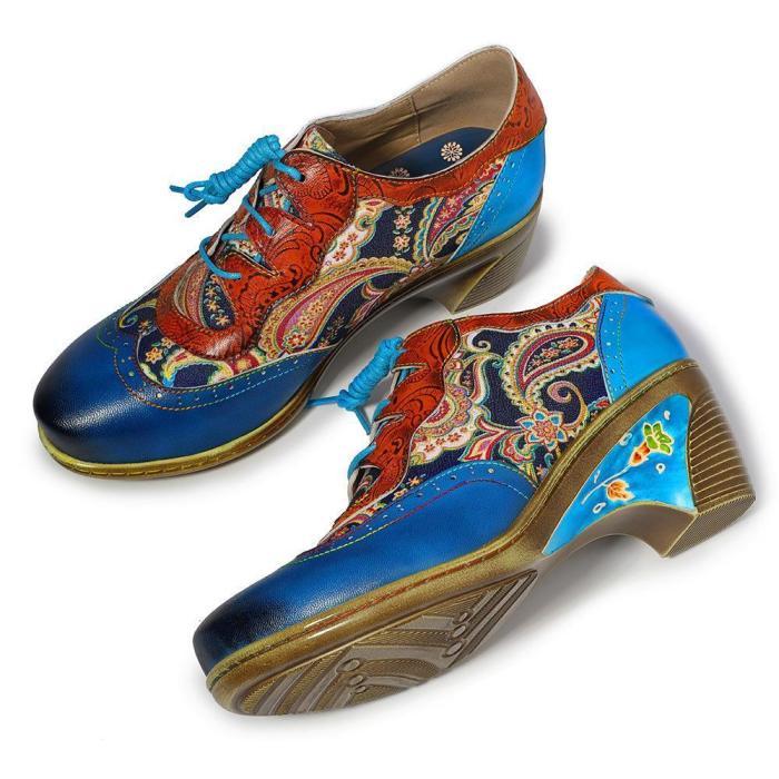 Vintage Print   Color Matching Handmade High Heels