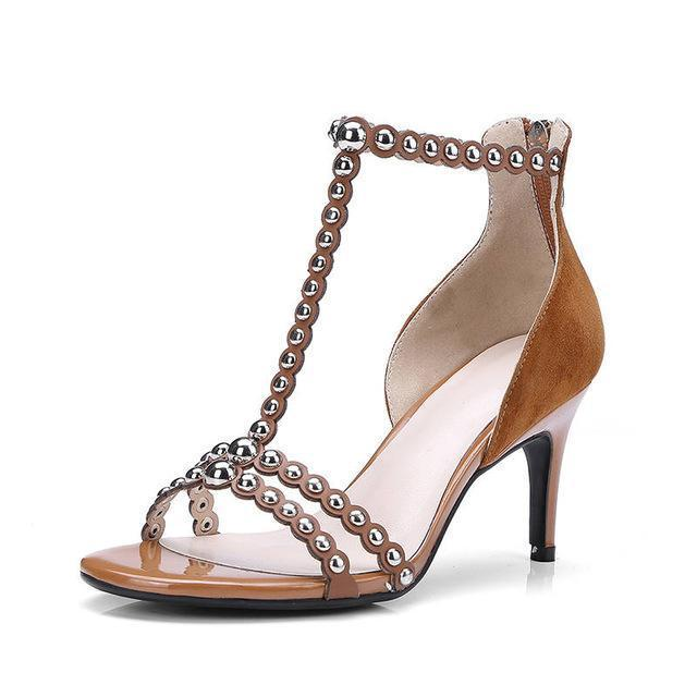 Women Sandals Fashion Rivet Party Wedding Zipper Solid Color Sexy High Heels Shoes