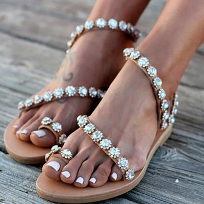 Brown Flower Casual PU Sandals