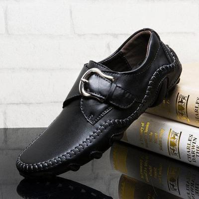 Mens Soft Hand Stitching Cow Leather Hook Loop Casual Shoes