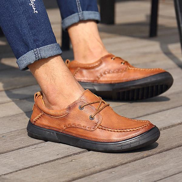 Genuine Leather Outdoor Casual Lace-up Flats