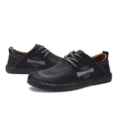 Men British Style Hand Stitching Microfiber Casual Lace-up Shoes