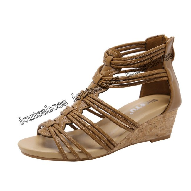 Flat Back Zipper Sandals Open Toe Ankle Summer Shoes for Women Sexy Ladies High Heel Shoes