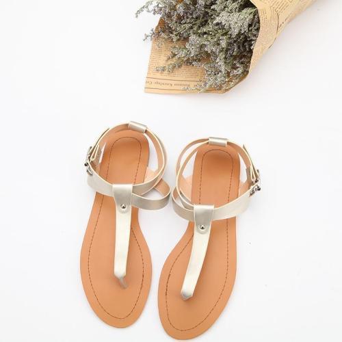 Women's Gold PU Flip-flops Adjustable Buckle Flat Sandals