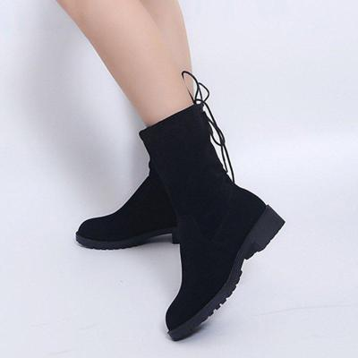 Women Casual Black Classic Boots Slip On Shoes
