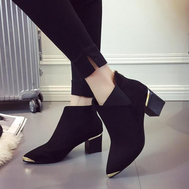 Fashion Martin Boots Ankle Pointed Metal Elegant Shoes Woman
