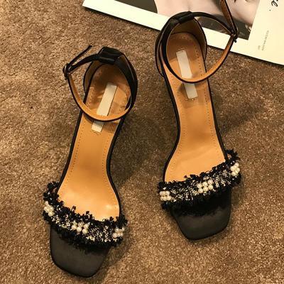 Sweet Imitation pearls Date Chunky Heel Sandals