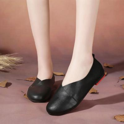 Leather Flat Shoes Woman Hand-sewn Leather Loafers Shoes