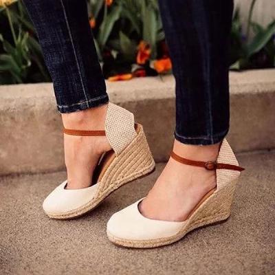 Summer Wedge Buckle Strap Sandals