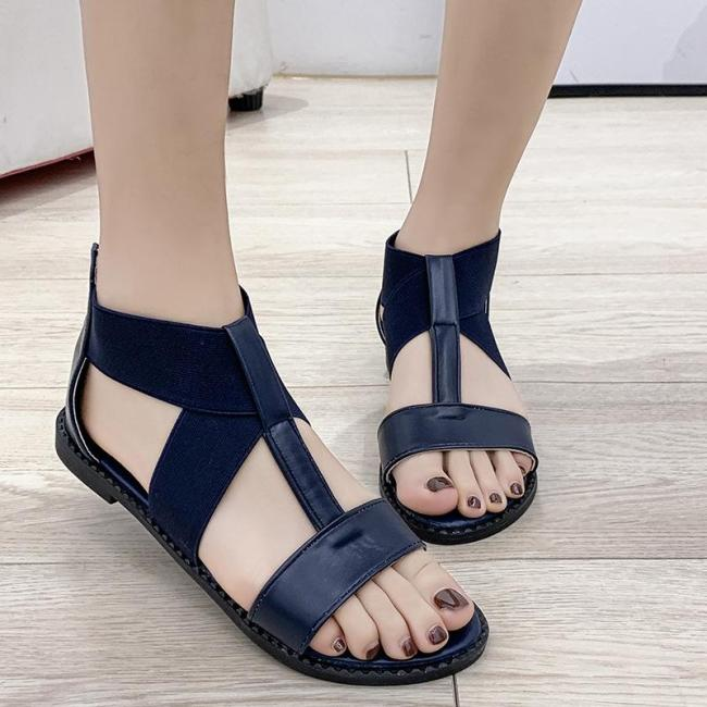 2020 Summer New Women's Shoes Casual Large Flat Sole Solid Color Women's Sandals