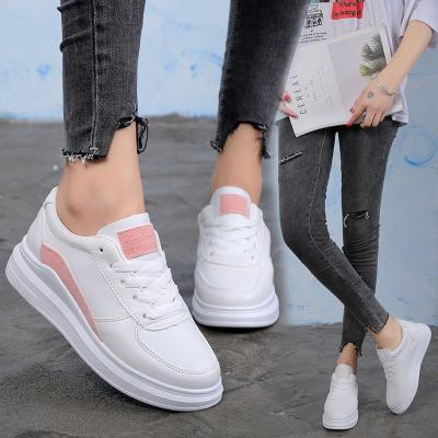 Women Casual Sports White Lace Up Flat Sneakers