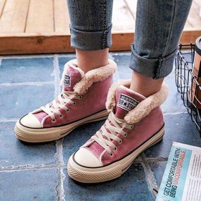Women Winter Warm Boots Lace-up Suede High-Low Heel Shoes