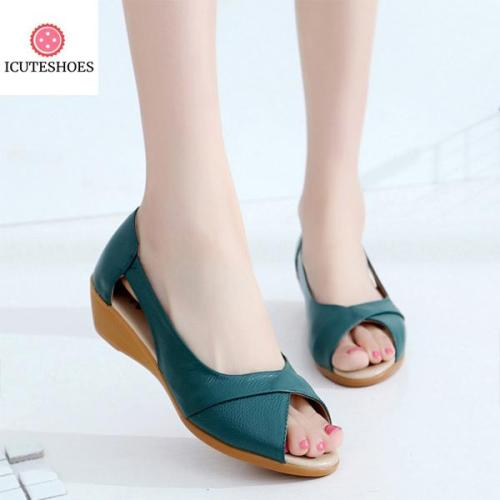 Women Sandals Genuine Leather Wedge Open Toe Sandals women