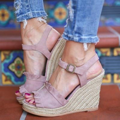 Womens Date Adjustable Buckle Wedge Heel Sandals