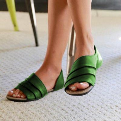Women Ruffles Pu Slip-on Casual Flat Sandals