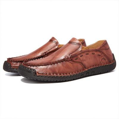 Large Size Mens Hand Stitching Soft Slip On Casual Shoes