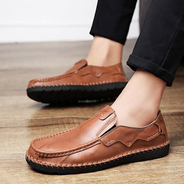 Men's Comfy Slip On Formal Shoes Leather Flat Shoes