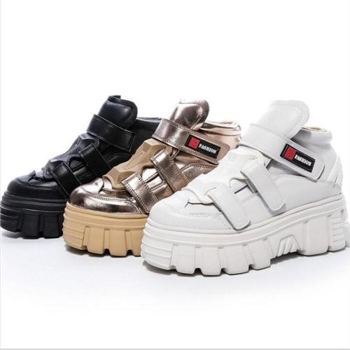 Solid Velcro High Platform Sneakers