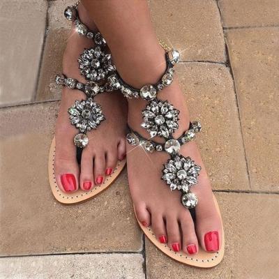 Bohemian Flat Peep Toe  Date Flat Sandals