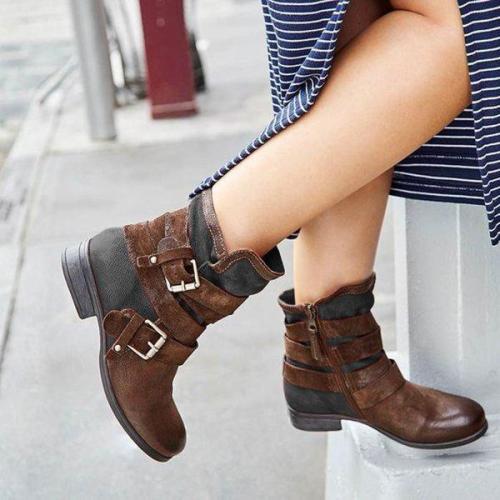 Women Casual Vintage Buckle Boots Zipper Shoes