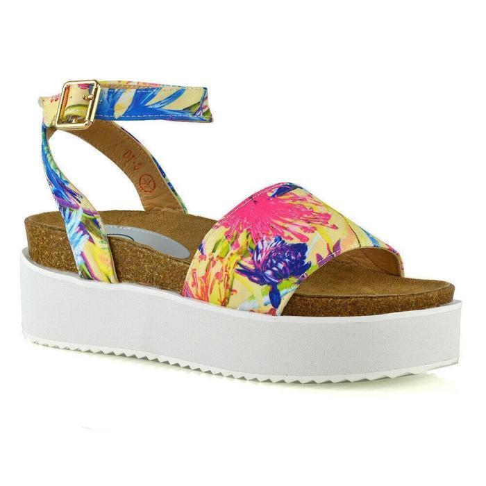 Peep Toe Platform Ankle-Strap Sparkling Upper Sandals