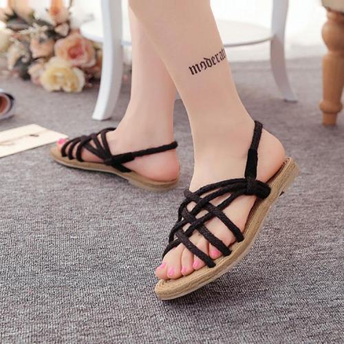 Bohemian Cross Straps Handmade Twine Braided Sandals