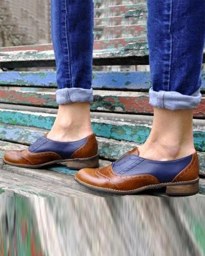 Contrast Slip-On Oxford Flat Shoes