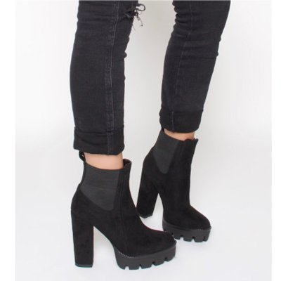 Black Suede Platform Round Toe Chunky Heel Elastic Ankle Boots