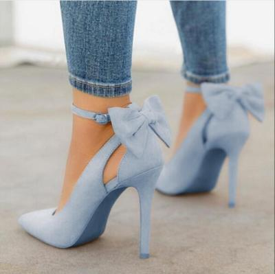 Suede Pointed Toe Back Thin High Heel Pumps Stiletto Party Shoes