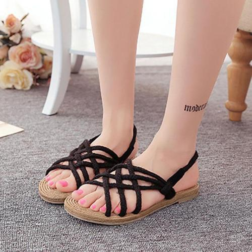 Bohemian Cross Straps Handmade Twine Braided Sandals