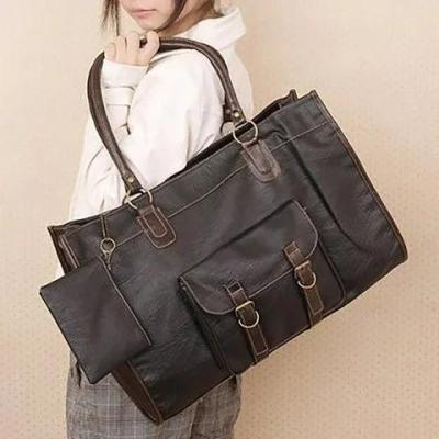 Vintage Women PU Leather Large Bags Shoulder Handbag Travel Tote Purse Book Bags