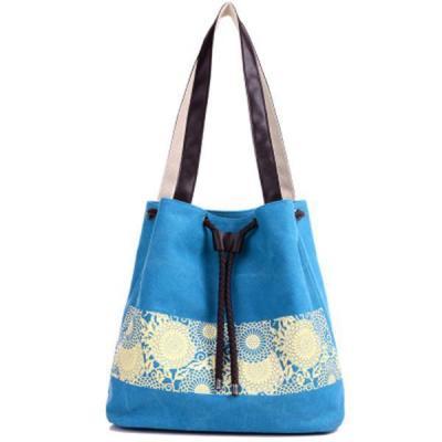 Fashion Women Handbags Floral Canvas Drawstring Bucket Bags