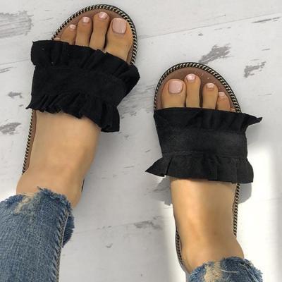 Casual Ruffles Hem Slide Outdoor Flat Slippers