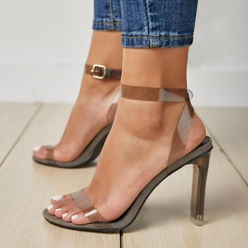 Chunky Heel Line-Style Buckle Ankle Strap Open Toe Casual Plain Sandals