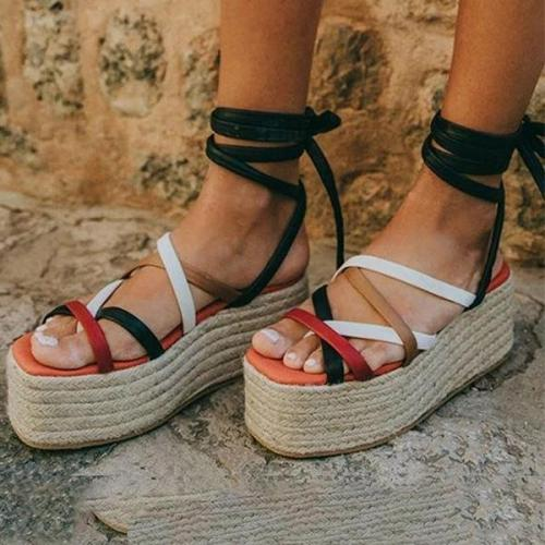 Women's Fashion Colouring Cross Straps Platform Sandals